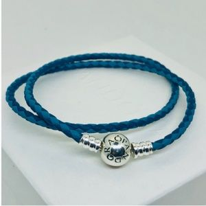 PANDORA Blue Two-Tone Woven Leather Bracelet, New!